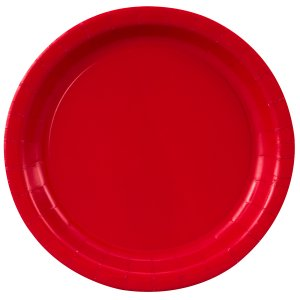Red Round Dessert Plates Big 20 Pack