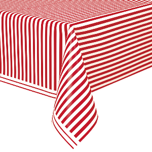 Red Striped Plastic Table Cover