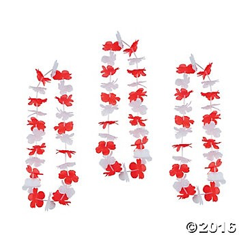 Red & White Fabric Flower Leis - 12 Pack