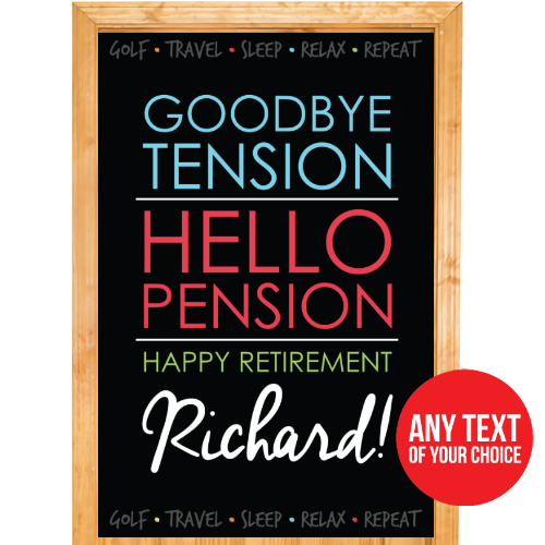 Retirement Chalk PERSONALIZED Door Sign