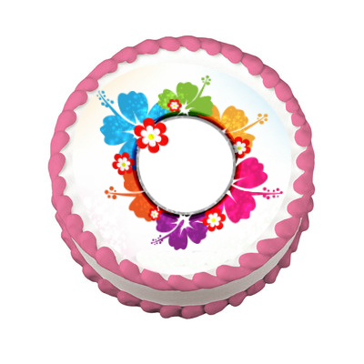 Luau Hibiscus Round PERSONALIZABLE Edible Icing Image