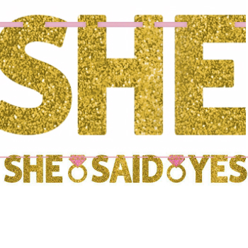 50% OFF: She Said Yes Glittering 12 Ft. Banner