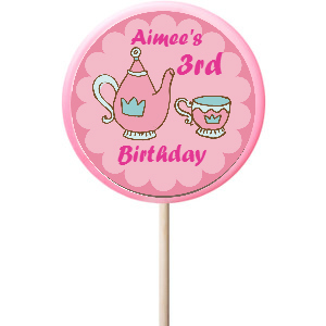 Tea Party PERSONALIZED Large Lollipops - 12 Pk