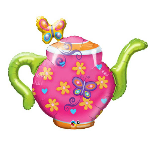 "Teapot & Butterflies 44"" SuperShape Foil Balloon"