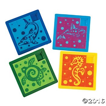 Plastic Tropical Tribal Slide Puzzles - 12 Pk