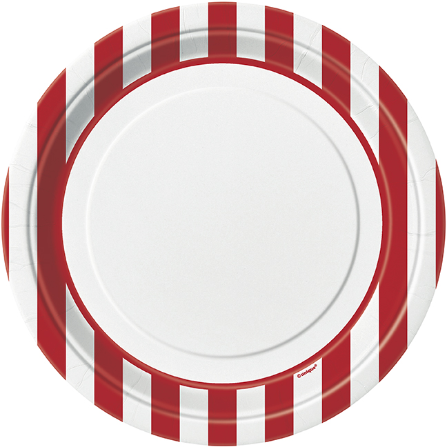 Red Striped Dinner Plates - 8 Pk