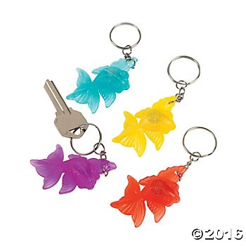 Vinyl Light-Up Goldfish Key Chains - 12 Pk