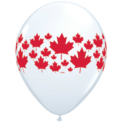 Canada Day Maple Leaf Large Latex Balloons 50 Pk