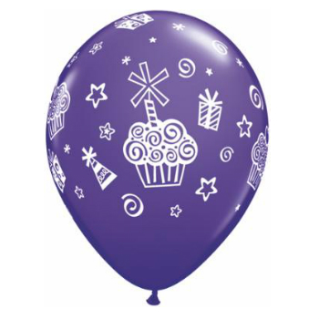 Cupcakes & Presents Assorted Latex Balloons 50 Pk