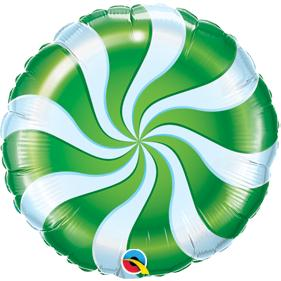 Green Candy Swirl Large Foil Balloon
