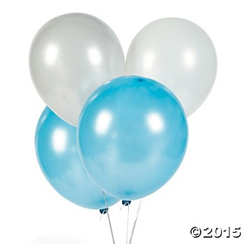 Winter 3 Colour Large Latex Balloons - 150 Pack