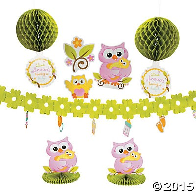 owl baby shower room decorating kit party supplies canada open a