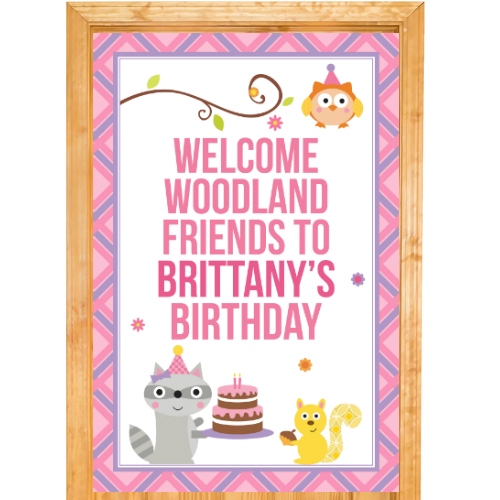 Woodland Girl PERSONALIZED Giant Door Sign