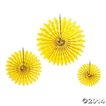 Yellow Tissue Hanging Fans - 12pk