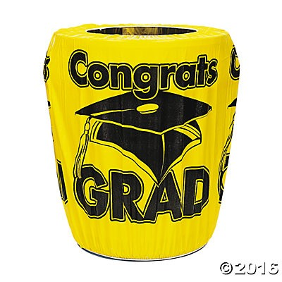 Graduation - Yellow 75 Inch Trash Can Cover