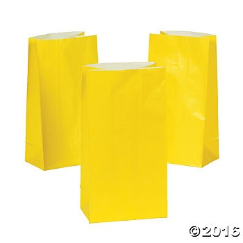 Yellow Paper Gift Bags - 12 pack