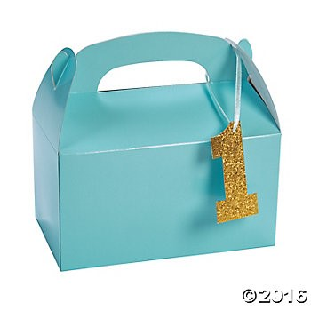 1st Birthday Blue Loot Boxes W Glitter Tag 4 Pk Party Supplies