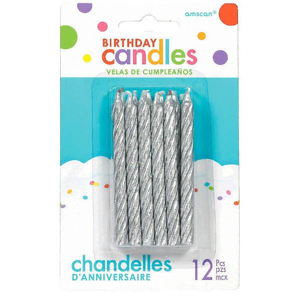 Silver Spiral Birthday Candles