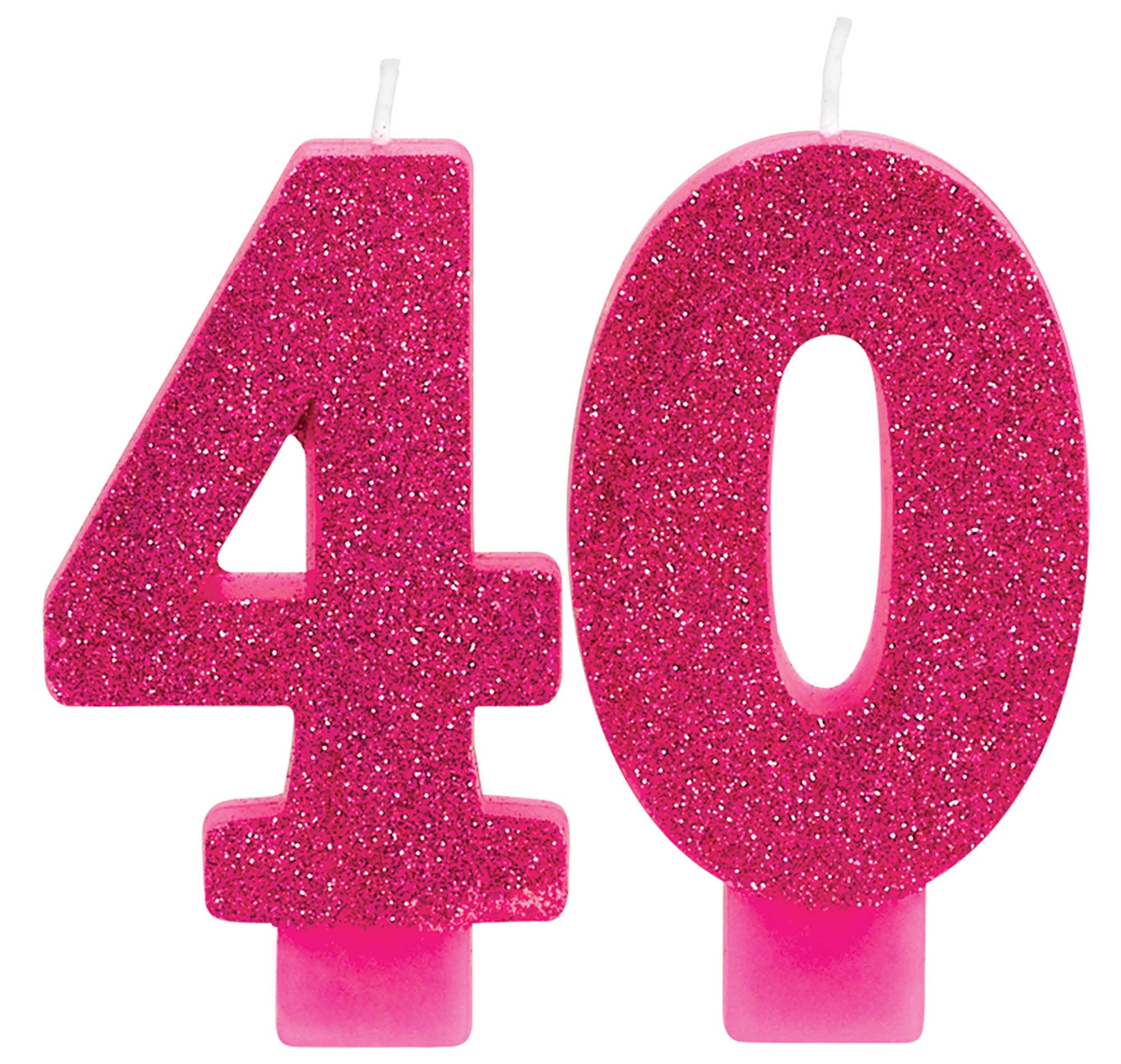 40th Birthday Pink Glittering Candle Set