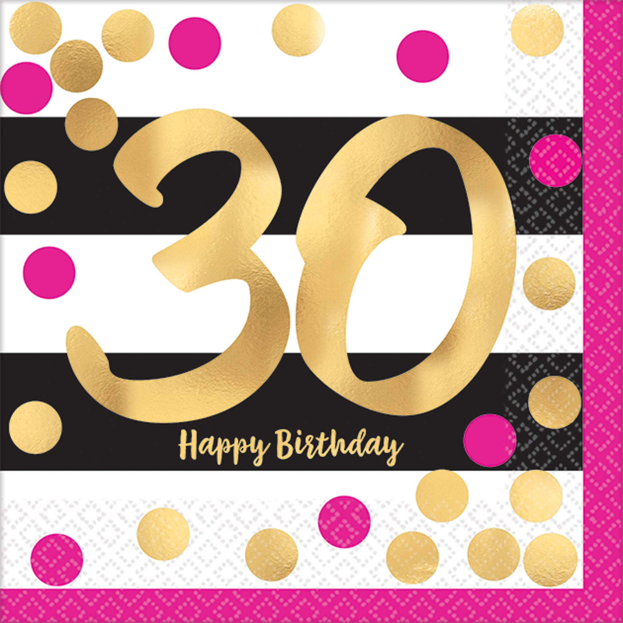 30th Birthday Pink Gold Metallic Beverage Napkins