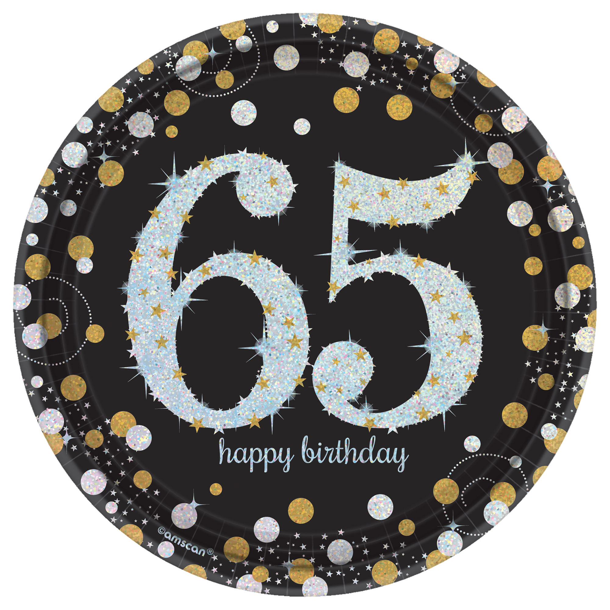 50 OFF 65th Birthday Prismatic Plates