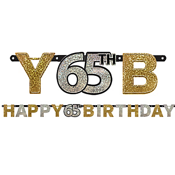 50 OFF 65th Birthday Sparkling 7 Foot Banner