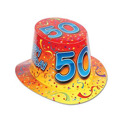 Happy 50th Birthday Orange Hi Hat