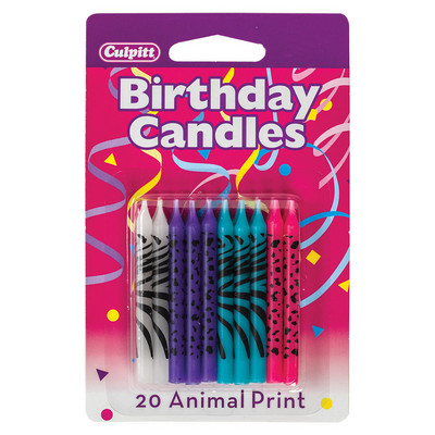 Bright Animal Print Birthday Candles