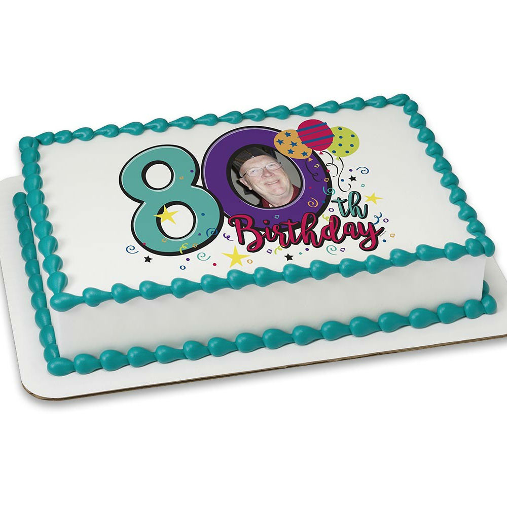 Happy 80th Birthday PERSONALIZED PHOTO Edible Icing