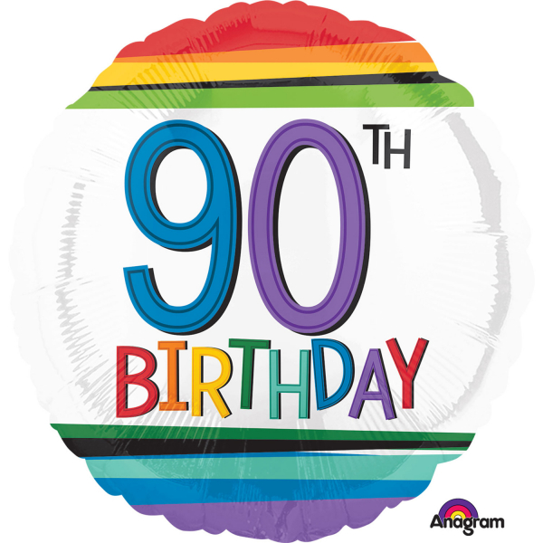 Rainbow 90th Birthday 18 Foil Balloon