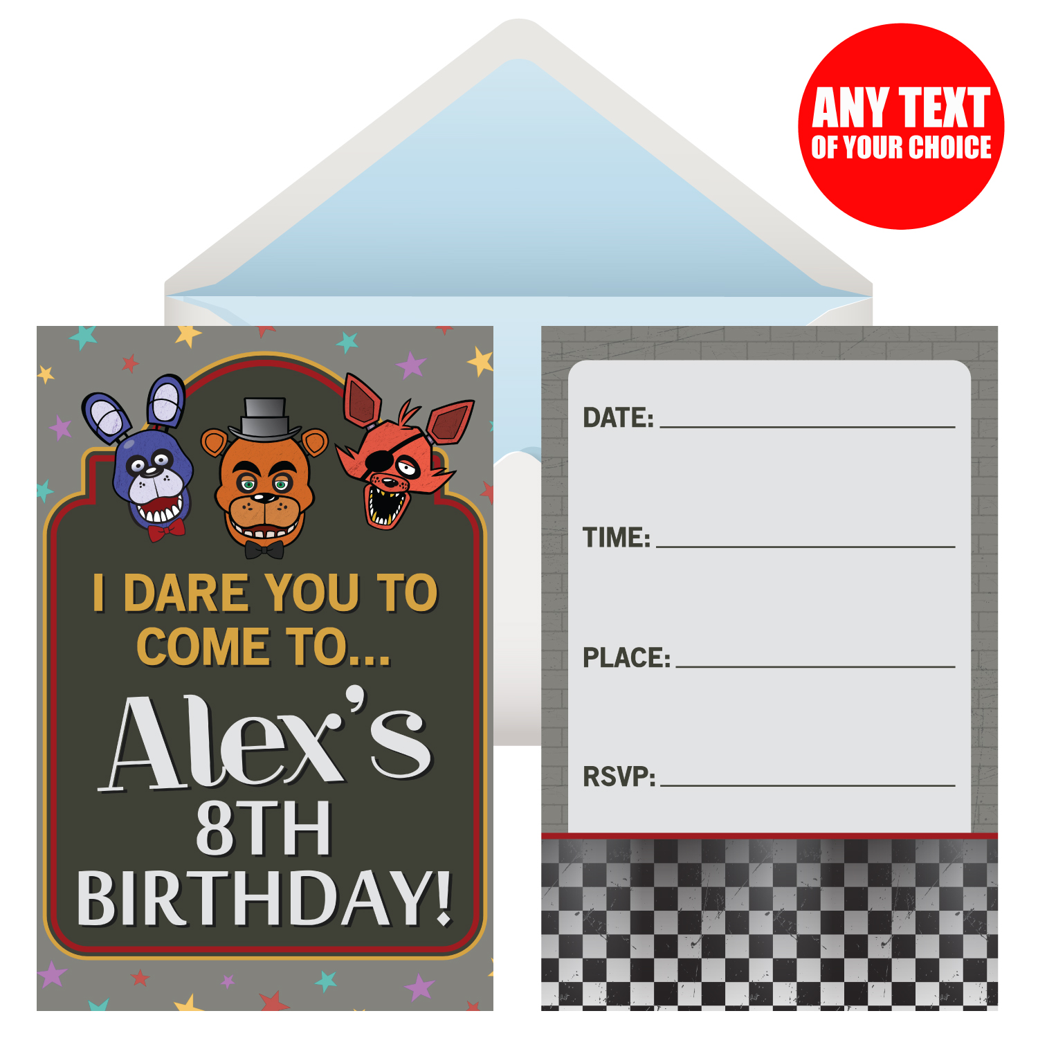 Five Nights At Freddys PERSONALIZED Invitations