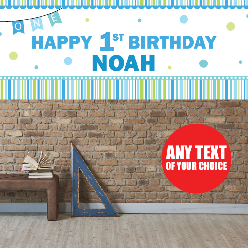 1st Birthday Boy PERSONALIZED Giant Banner