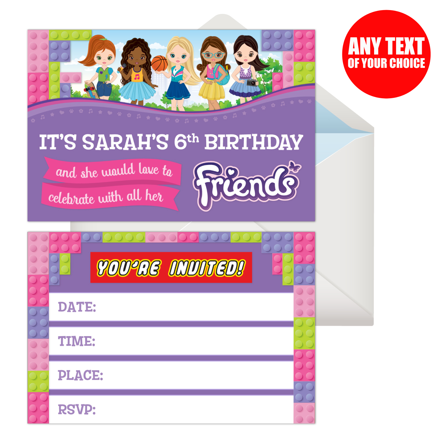 Lego Friends PERSONALIZED Invitations - 8 Pk