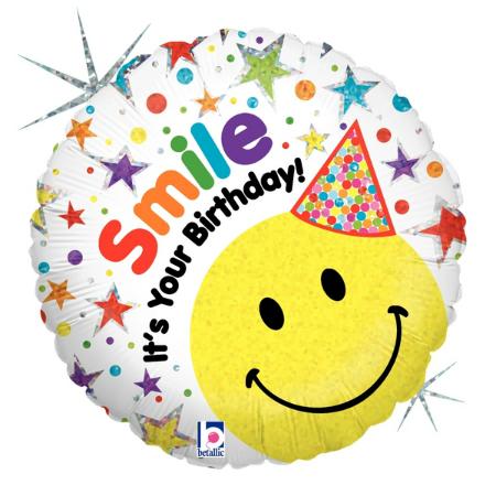 Smiley Birthday Hat Emoji Foil Balloon