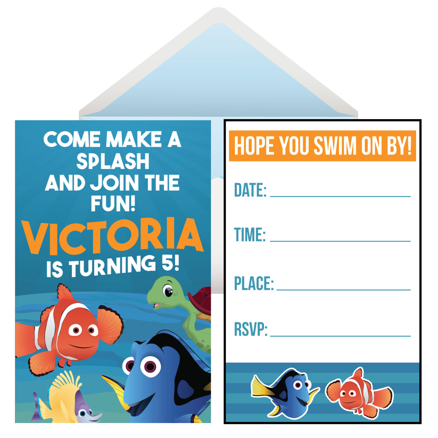 88275ee49ec Finding Dory PERSONALIZED Invitations - 8 Pk Party Supplies Canada ...