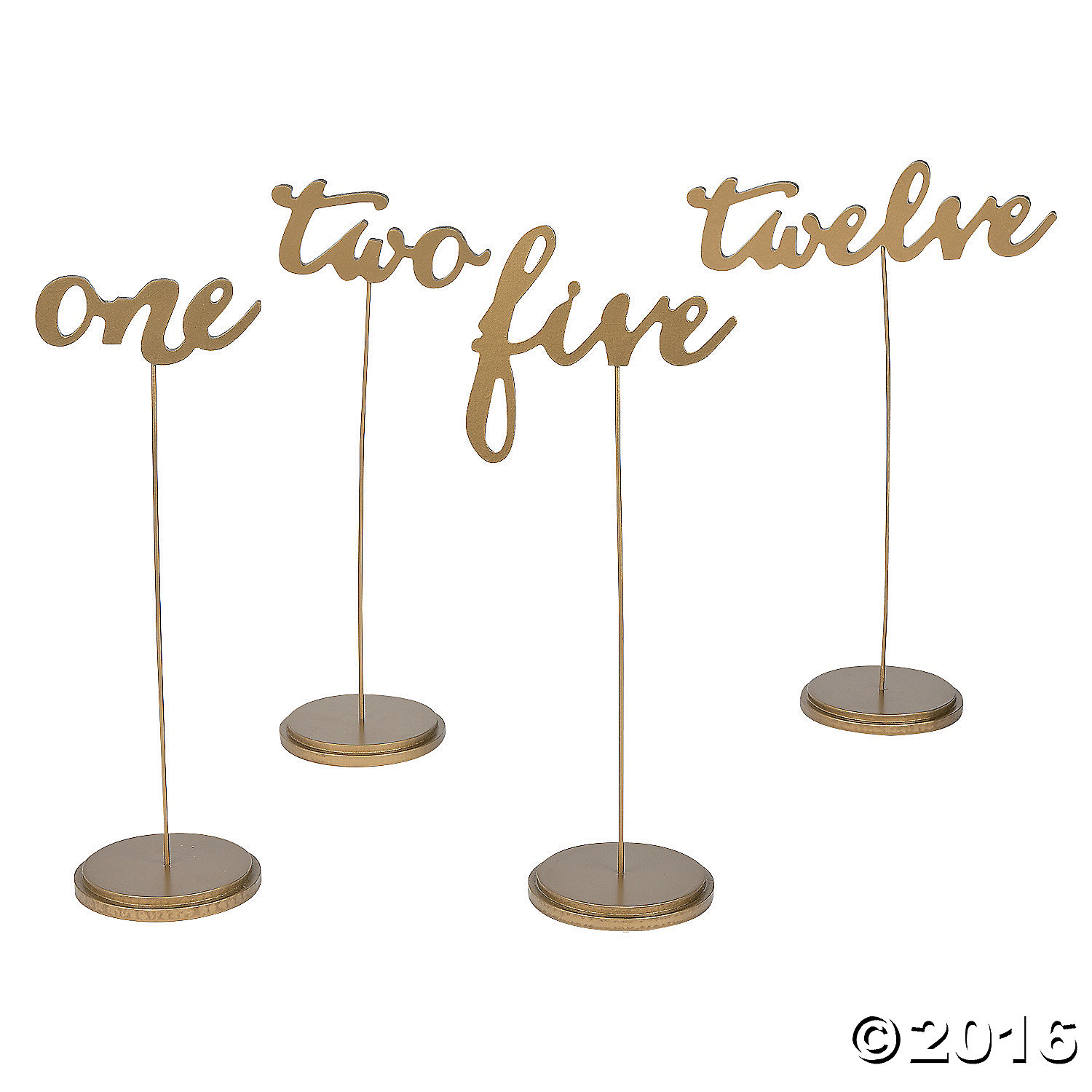 Gold Calligraphy Table Numbers 12pk Party Supplies Canada