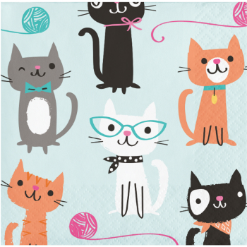 50 OFF Cat Party Beverage Napkins