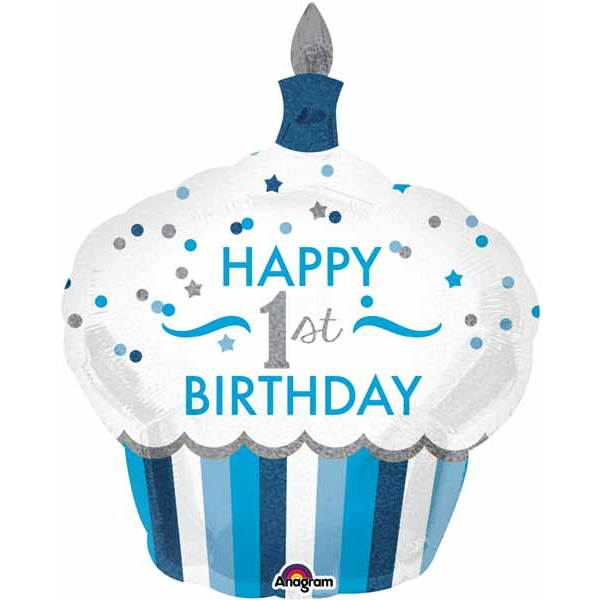 Cupcake 1st Birthday Blue 36 Supershape Balloon