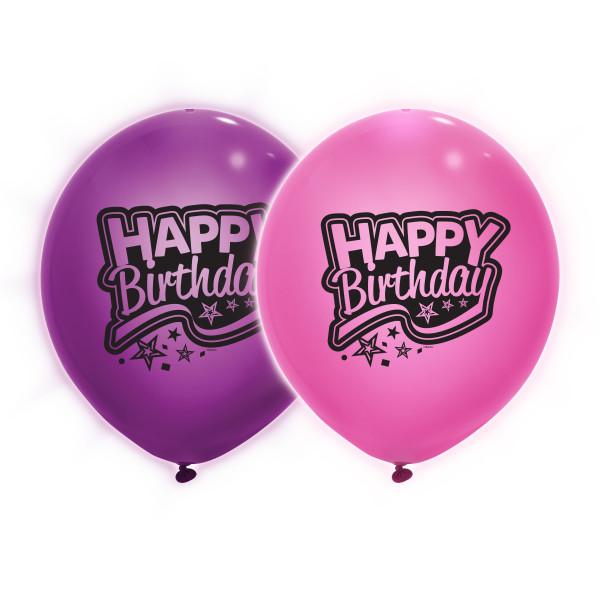 Giant 24 Pink Purple Light Up Happy Birthday Balloons