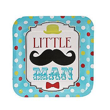 Little Man Moustache Dinner Plates 8pk