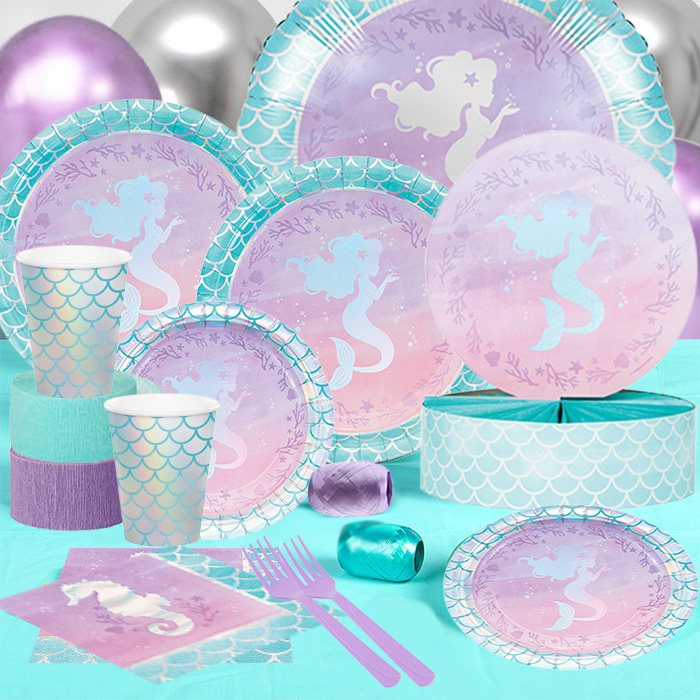 60 OFF Mermaid Metallic Iridescent Party Pack For 16