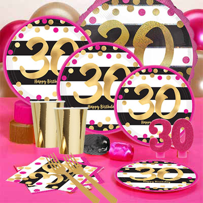 30th Birthday Pink Gold Metallic Party Pack For 16