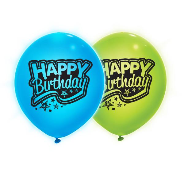 Giant 24 Blue Green Light Up Happy Birthday Balloons