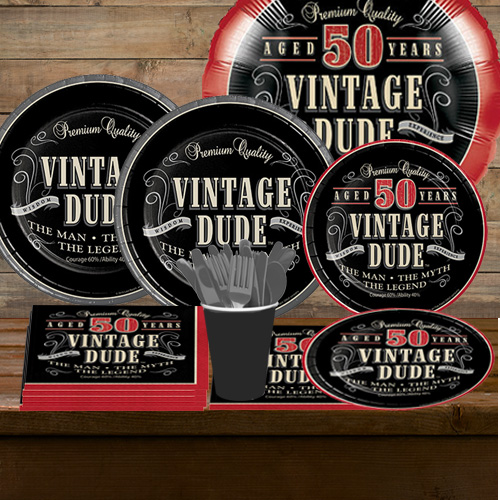 Supersaver Vintage Dude 50th Birthday Party Pack For 16