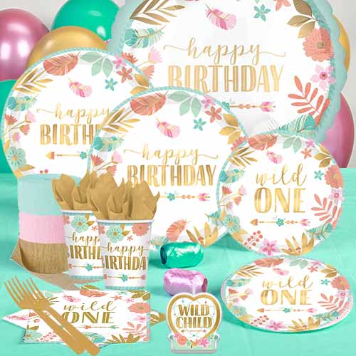 50 OFF Wild One Metallic Deluxe Boho Party Pack For 16