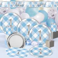 1st Birthday Blue Gingham & Metallic