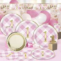 1st Birthday Pink Gingham & Metallic